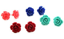 Pretty 4Pair 10mm Pink / Red /Blue /Green Coral Rose Flower  Silver Stud Earring