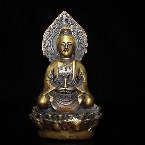 "5.1"" Collect China Bronze Buddhism Guanyin Kwan-yin Hand Hold Bottle Statue"