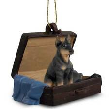 Doberman Pinscher BlkCrop Traveling Companion Dog Figurine In Suit Case Ornament