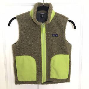 Patagonia Kids Retro X Sherpa Fleece Zip Vest Ash Tan Green Size Small 7/8