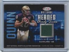 Brady Quinn Notre Dame Irish Football 2007 Sage National Heroes Cert Jersey Card