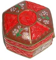 CHINESE ANTIQUE VINTAGE CLOISONNÉ  CARVED CINNABAR LACQUER HEXAGON HINGED BOX