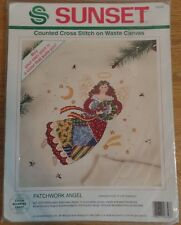"""Counted Cross Stitch Kit Sunset Patchwork Angel 9"""" x 9""""    FREE SHIPPING"""