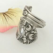 Sterling Silver ROSE Spoon Ring Size 7-12 Custom Silverware Jewelry