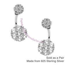 Plata Esterlina & CZ Linda Flor Cluster Front & Back Earring Ear chaquetas