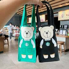 Starbucks Cartoon Bear Tote Bag Canvas Straw Thermos Cup Coffee Packing Bag