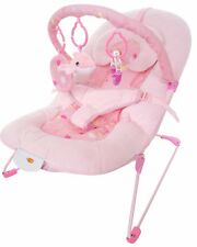 Bebe Style Superior Plush Velour Dolphin Baby Bouncer - Pink Vibrates+Music NEW
