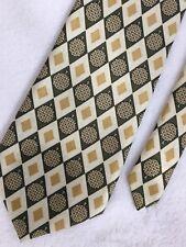 Rene Chagal Tie Gold Olive Green Tan Geometric Diamond Argyle 100% Silk