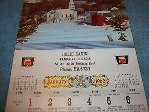 1962 Rolie Eakin Calendar Vandalia IL. ILLINOIS ILL. Oliver Tractor Dealer, Farm
