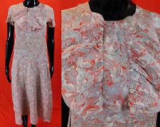 Vintage 1930 Gray Red White Floral Print Silk Ruffle Jabot Belted Bias Cut Dress