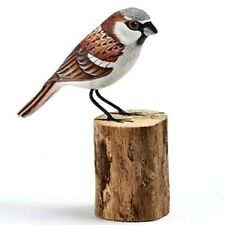 Hand Carved Wooden Painted House Sparrow Tree Stump Garden Ornament Bird Carving