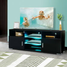 57'' Modern TV Stand Black w/LED Light Entertainment Center for TV's Up to 65''