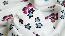 PRINTED VISCOSE FABRIC – FLORAL DESIGN - 'HAND DRAWN' FLORAL DESIGN