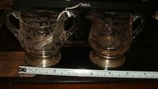 Cambridge Chantilly Etched Crystal Sterling Silver Cream and Sugar Set