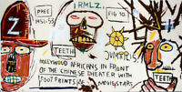 Jean Michel Basquiat Print on Canvas  Abstract art Hollywood Africans 24x48""