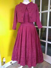 Lindy Bop Marianne Burgundy Red Twin Set Swing Dress Size 10