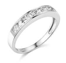 1.50 Ct Princess Real 14k White Gold Engagement Wedding Anniversary Band Ring