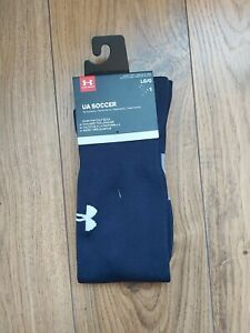 BNWT Under Armour Navy Rugby UA Soccer Socks Size Large 9-12.5 uk