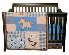 Cowboy Baby Crib Bedding Nursery Western Horse Boots 3 Piece Set Trend Lab New