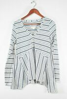 Maeve Women's Size Medium White Blue Top Asymmetrical Striped Knit Henley Shirt