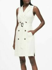 Banana Republic Double-Breasted Trench Dress, Warm White SIZE 00   #493323 T0211