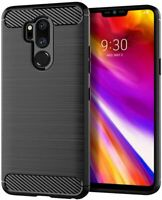 LG G7 Case, Slim Thin Flexible TPU Soft Silicone Carbon Shockproof Fiber Black
