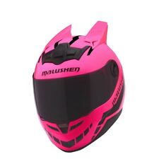 Motorcycle Helmet Women Racing Motorbike Helmet Special Horns Hell Pink Helmet