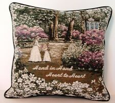 Mother & Daughter In Floral Garden w/ Words By Glynda Turley Tapestry Pillow New