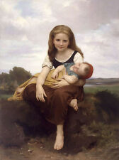 Oil painting Bouguereau - Beautiful Young girl The Elder Sister & child in field