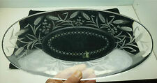 """Sinclaire Cut Glass Etched 13 1/2"""" Bread Tray"""