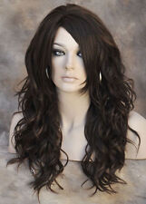 HEAT SAFE Loose WAVY Long Skin Top CHESTNUT brown AUBURN Wig WBGA 6-30