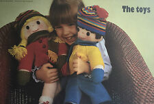 KNITTING PATTERN Jean Greenhowe Twin Dressing Up Dolls Boy Girl Doll Clothes