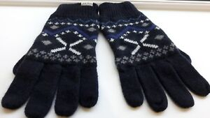 Jack Wills Men's Navy Lambswool and Polyamide Neath Gloves