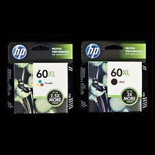 HP 60XL COMBO - TRI-COLOR + BLACK - CC644WN CC641WN - 2 New 60 XL Ink Cartridges