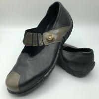 Josef Seibel Womens Mary Janes Black Gray Leather Comfort Shoes 9.5-10 EU 41