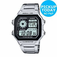 Casio Men's Grey Easy Read Dial World Time Illuminator Digital Watch