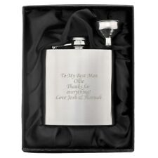 Personalised Engraved Stainless Steel 6oz Hip Flask, Funnel+Moulded Gift Box-Dad