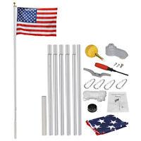 20 Ft Aluminum Flag Pole Kit  Halyard PoleWith 1 Free 3'X5' US Flag Heavy Duty