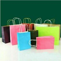 10 Colors Recyclable Party Bags Kraft Paper Gift Bag With Handle Shop Loot Bags