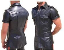 665 Echtleder Police Style Lederhemd,Leder Hemd,leather Shirt,Chemise en Cuir
