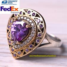 TURKISH JEWELRY 925 SILVER NEW AMETHYST STONE WOMAN LADIES FEMALE RING