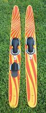 Vintage Sparkler Medalist Cut n Jump Wooden Water Skis Sunburst Red & Yellow