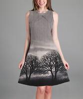 Simply Aster ladies dress US 2X UK 12/14 grey black pastoral sleeveless a-line