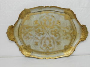 Italian Florentine Decorative Tray - Fab Gold & White Floral Design - 17 X 12