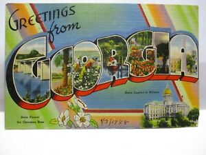 """WWII LARGE LETTER POSTCARD """" GREETINGS FROM GEORGIA """" , W/ SITES SOLDIER CANCEL"""
