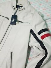Armani jean white leather jacket men Rare! Orig $395, US Size Medium, EU Size 50