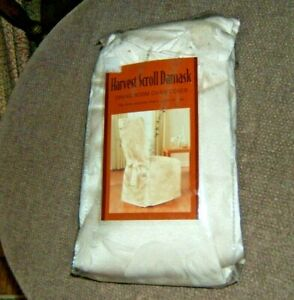 Harvest Scroll Damask Dining Room Chair Cover NIP ~ Ivory