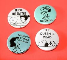 SET OF 4 SNOOPY PEANUTS THE SMITHS INSPIRED BUTTON PIN BADGES