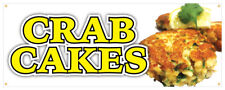 Crab Cake Banner Fresh Hot Lump Krab Seafood Concession Stand Sign 24x72