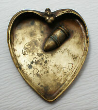 Heart Shaped Dragonfly Pin / Trinket Tray Solid Brass Art Nouveau
